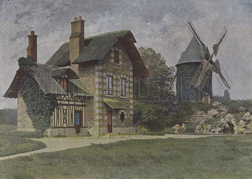 Bois de Boulogne, le Moulin. Illustration for La France, Aquarelles Souvenirs de Voyages (Boulanger, c 1900).