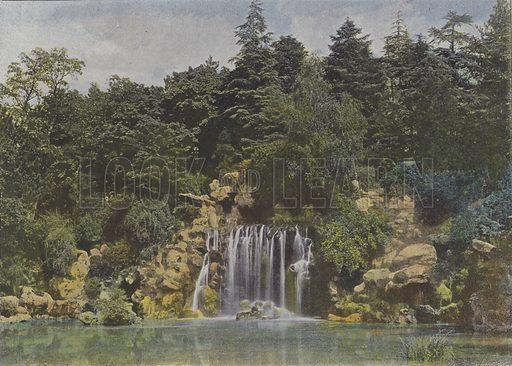 Bois de Boulogne, La Cascade. Illustration for La France, Aquarelles Souvenirs de Voyages (Boulanger, c 1900).