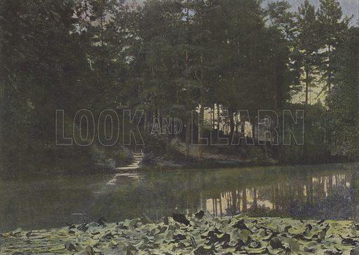 Bois de Boulogne, Le Reservoir. Illustration for La France, Aquarelles Souvenirs de Voyages (Boulanger, c 1900).