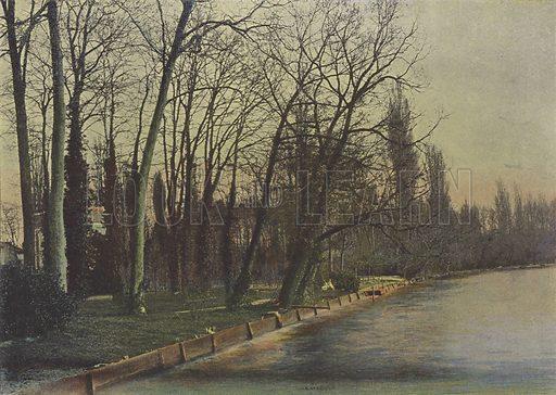 Enghien, Le Lac. Illustration for La France, Aquarelles Souvenirs de Voyages (Boulanger, c 1900).