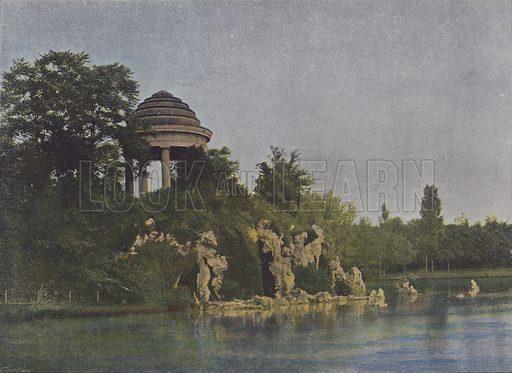 Bois de Vincennes, Lac de Saint-Mande. Illustration for La France, Aquarelles Souvenirs de Voyages (Boulanger, c 1900).