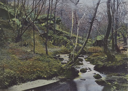 Vaux de Cernay, Les Cascades. Illustration for La France, Aquarelles Souvenirs de Voyages (Boulanger, c 1900).