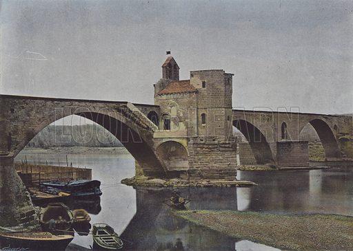 Avignon, Pont Saint-Benezet. Illustration for La France, Aquarelles Souvenirs de Voyages (Boulanger, c 1900).