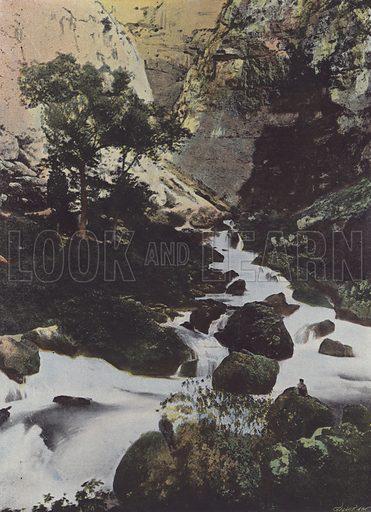 Source de la Sorgue a la Fontaine de Vaucluse. Illustration for La France, Aquarelles Souvenirs de Voyages (Boulanger, c 1900).