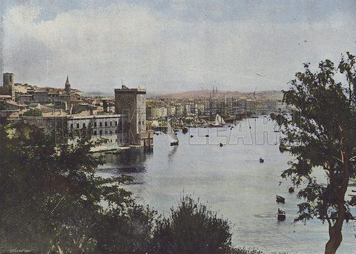 Marseille, Vieux Port. Illustration for La France, Aquarelles Souvenirs de Voyages (Boulanger, c 1900).