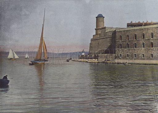 Marseille, Fort Saint-Jean. Illustration for La France, Aquarelles Souvenirs de Voyages (Boulanger, c 1900).