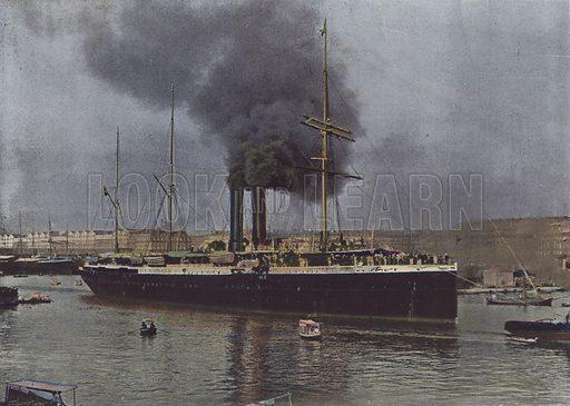 Marseille, Un Navire des Messageries Maritimes sortant du Port. Illustration for La France, Aquarelles Souvenirs de Voyages (Boulanger, c 1900).