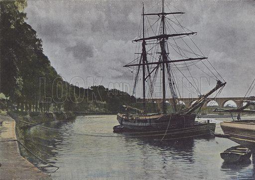 Les rives du Blavet, a Hennebont. Illustration for La France, Aquarelles Souvenirs de Voyages (Boulanger, c 1900).