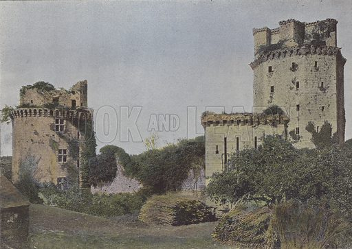Ruines du chateau d'Elven. Illustration for La France, Aquarelles Souvenirs de Voyages (Boulanger, c 1900).