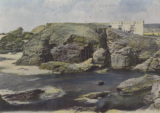 Vieux fort a la pointe des Poulains, a Belle-Ile. Illustration for La France, Aquarelles Souvenirs de Voyages (Boulanger, c 1900).