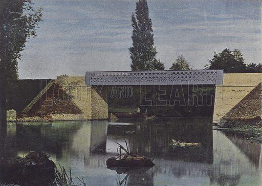 Un Pont sur le Layon. Illustration for La France, Aquarelles Souvenirs de Voyages (Boulanger, c 1900).