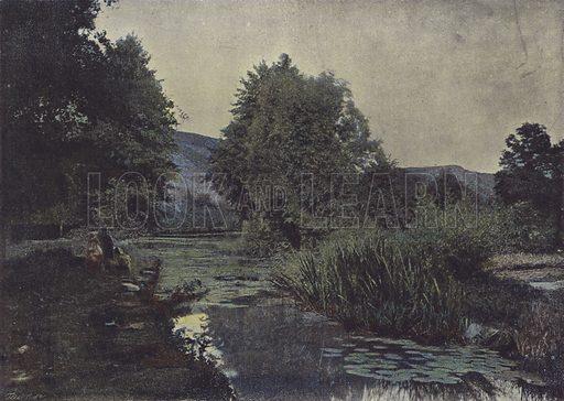 Les rives du Layon. Illustration for La France, Aquarelles Souvenirs de Voyages (Boulanger, c 1900).