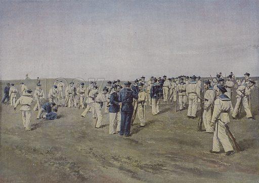 Pendant le tir. Illustration for La France, Aquarelles Souvenirs de Voyages (Boulanger, c 1900).