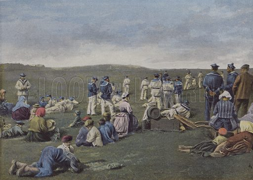 Repos sur le terrain de manoeuvre. Illustration for La France, Aquarelles Souvenirs de Voyages (Boulanger, c 1900).