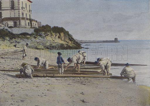 L'astiquage des agres. Illustration for La France, Aquarelles Souvenirs de Voyages (Boulanger, c 1900).