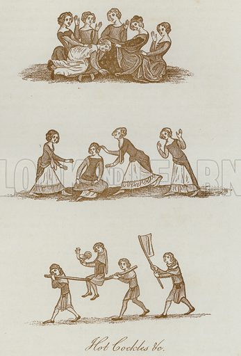 Hot Cockles, etc. Illustration for The Sports and Pastimes of the People of England by Joseph Strutt, 1801, a new edition, much enlarged and corrected by J Charles Cox (Methuen, c 1890). Contains fine reproductions of illustrations in original edition.