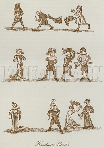 Hoodman blind. Illustration for The Sports and Pastimes of the People of England by Joseph Strutt, 1801, a new edition, much enlarged and corrected by J Charles Cox (Methuen, c 1890). Contains fine reproductions of illustrations in original edition.