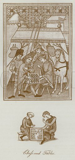 Chess and Tables. Illustration for The Sports and Pastimes of the People of England by Joseph Strutt, 1801, a new edition, much enlarged and corrected by J Charles Cox (Methuen, c 1890). Contains fine reproductions of illustrations in original edition.