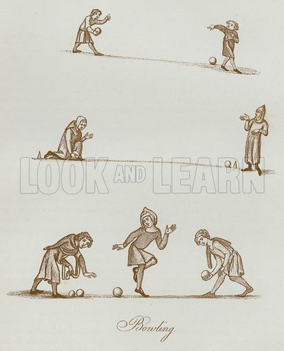 Bowling. Illustration for The Sports and Pastimes of the People of England by Joseph Strutt, 1801, a new edition, much enlarged and corrected by J Charles Cox (Methuen, c 1890). Contains fine reproductions of illustrations in original edition.