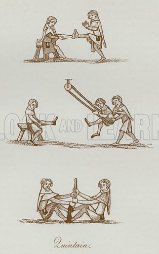 Quintain. Illustration for The Sports and Pastimes of the People of England by Joseph Strutt, 1801, a new edition, much enlarged and corrected by J Charles Cox (Methuen, c 1890). Contains fine reproductions of illustrations in original edition.