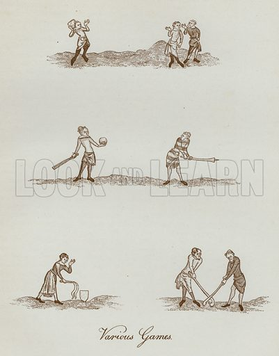 Various Games. Illustration for The Sports and Pastimes of the People of England by Joseph Strutt, 1801, a new edition, much enlarged and corrected by J Charles Cox (Methuen, c 1890). Contains fine reproductions of illustrations in original edition.