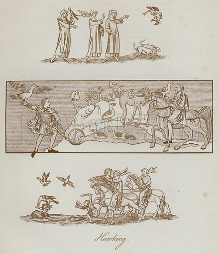 Hawking. Illustration for The Sports and Pastimes of the People of England by Joseph Strutt, 1801, a new edition, much enlarged and corrected by J Charles Cox (Methuen, c 1890). Contains fine reproductions of illustrations in original edition.