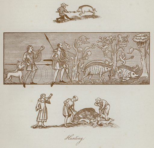 Hunting. Illustration for The Sports and Pastimes of the People of England by Joseph Strutt, 1801, a new edition, much enlarged and corrected by J Charles Cox (Methuen, c 1890). Contains fine reproductions of illustrations in original edition.