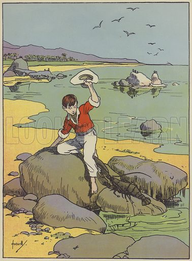 Vainly trying to shake off a large lobster. Illustration for The Swiss Family Robinson retold by Edith Robarts (Blackie, 1909).
