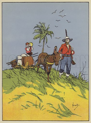 A useful, if somewhat odd-looking, carriage. Illustration for The Swiss Family Robinson retold by Edith Robarts (Blackie, 1909).