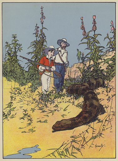 The hideous creature lay dead on the plain. Illustration for The Swiss Family Robinson retold by Edith Robarts (Blackie, 1909).