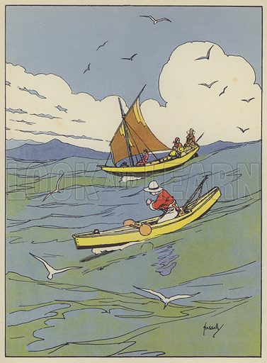 One fine morning we set sail. Illustration for The Swiss Family Robinson retold by Edith Robarts (Blackie, 1909).