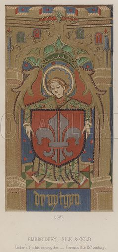 Embroidery, Silk and Gold, Under a Gothic canopy etc, German, late 15th century. Illustration for South Kensington Museum, Textile Fabrics, A Descriptive Catalogue by Daniel Rock (Chapman and Hall, 1870).