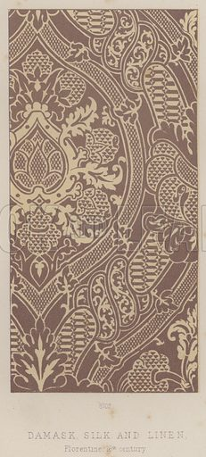 Damask, Silk and Linen, Florentine, 16th century. Illustration for South Kensington Museum, Textile Fabrics, A Descriptive Catalogue by Daniel Rock (Chapman and Hall, 1870).