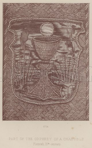 Part of the Orphrey of a Chasuble, Flemish, 15th century. Illustration for South Kensington Museum, Textile Fabrics, A Descriptive Catalogue by Daniel Rock (Chapman and Hall, 1870).