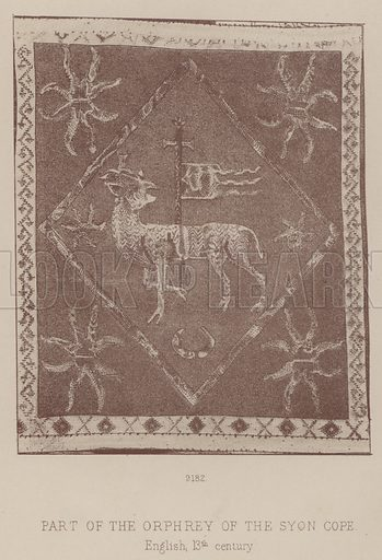 Part of the Orphrey of the Syon Cope, English, 13th century. Illustration for South Kensington Museum, Textile Fabrics, A Descriptive Catalogue by Daniel Rock (Chapman and Hall, 1870).