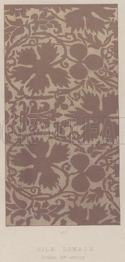 Silk Damask, Sicilian, 14th century. Illustration for South Kensington Museum, Textile Fabrics, A Descriptive Catalogue by Daniel Rock (Chapman and Hall, 1870).