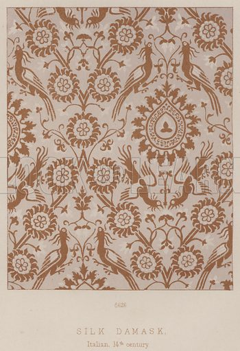Silk Damask, Italian, 14th century. Illustration for South Kensington Museum, Textile Fabrics, A Descriptive Catalogue by Daniel Rock (Chapman and Hall, 1870).