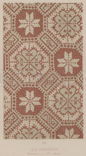 Lace Embroidery, Milanese, 16th century. Illustration for South Kensington Museum, Textile Fabrics, A Descriptive Catalogue by Daniel Rock (Chapman and Hall, 1870).