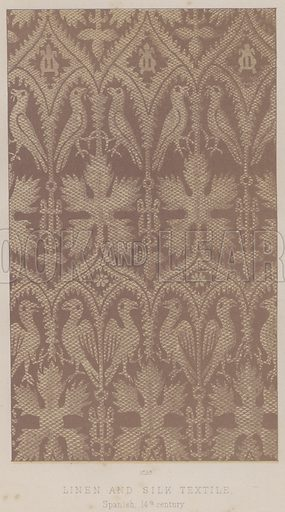 Linen and Silk Textile, Spanish, 14th century. Illustration for South Kensington Museum, Textile Fabrics, A Descriptive Catalogue by Daniel Rock (Chapman and Hall, 1870).