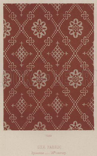 Silk Fabric, Byzantine, 14th century. Illustration for South Kensington Museum, Textile Fabrics, A Descriptive Catalogue by Daniel Rock (Chapman and Hall, 1870).