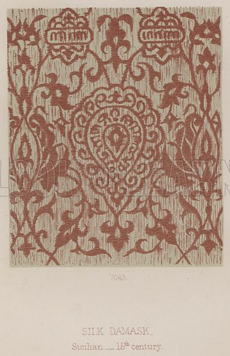 Silk Damask, Sicilian, 15th century. Illustration for South Kensington Museum, Textile Fabrics, A Descriptive Catalogue by Daniel Rock (Chapman and Hall, 1870).