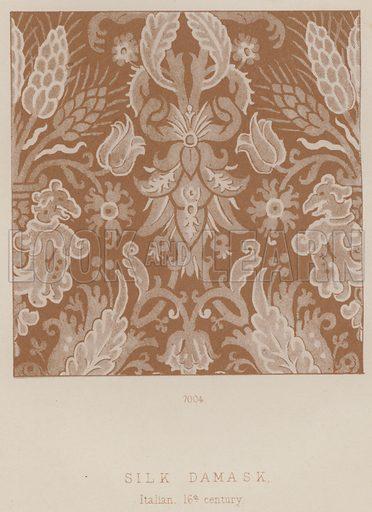 Silk Damask, Italian, 16th century. Illustration for South Kensington Museum, Textile Fabrics, A Descriptive Catalogue by Daniel Rock (Chapman and Hall, 1870).