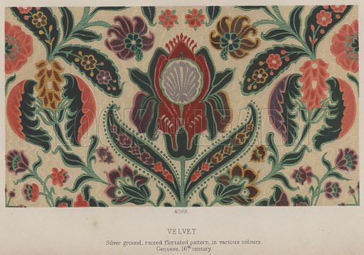 Velvet, Silver ground, raised floriated pattern, in various colours, Genoese, 16th century. Illustration for South Kensington Museum, Textile Fabrics, A Descriptive Catalogue by Daniel Rock (Chapman and Hall, 1870).