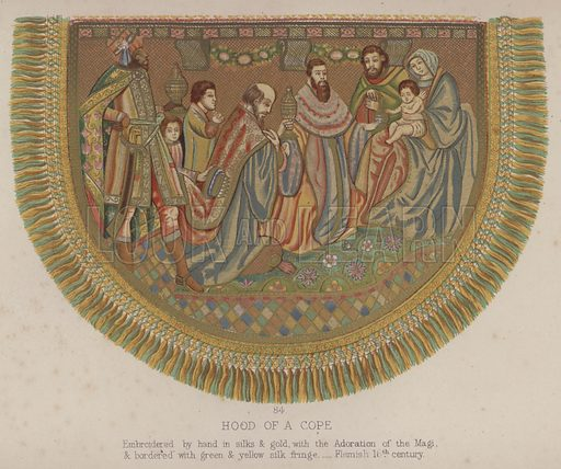 Hood of a Cope, Embroidered by hand in silks and gold, with the Adoration of the Magi, and bordered with green and yellow silk fringe, Flemish 16th century. Illustration for South Kensington Museum, Textile Fabrics, A Descriptive Catalogue by Daniel Rock (Chapman and Hall, 1870).