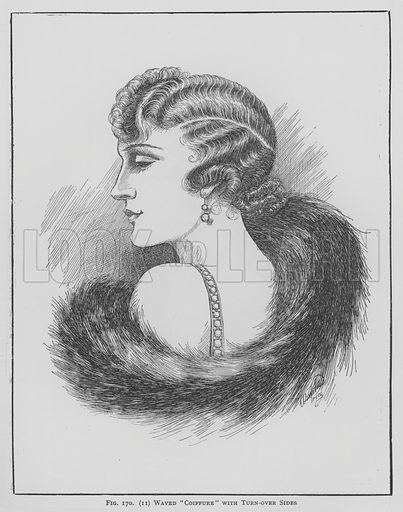 Waved Coiffure with turn-over sides
