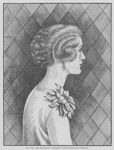 Elaborate Coiffure with exceptional parting. Illustration for The Art and Craft of Hairdressing edited by Gilbert A Foan (New Era, c 1935).