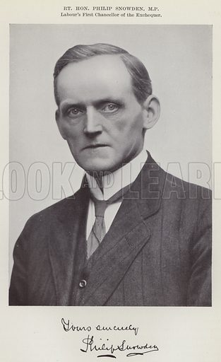 Right Honourable Philip Snowden, MP, Labour's First Chancellor of the Exchequer. Illustration for The Book of The Labour Party edited by Herbert Tracey (Caxton, c 1925).
