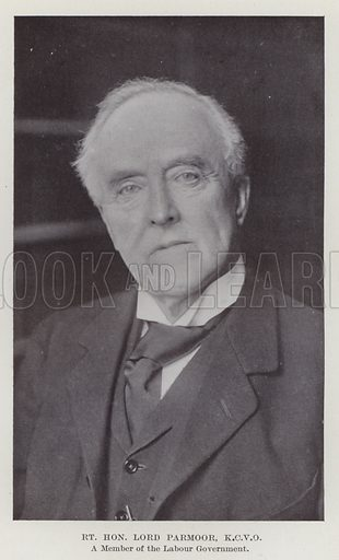 Right Honourable Lord Parmoor, KCVO, a Member of the Labour Government. Illustration for The Book of The Labour Party edited by Herbert Tracey (Caxton, c 1925).