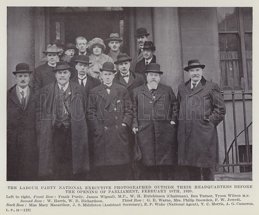 The Labour Party National Executive Photographed outside their Headquarters before the Opening of Parliament, 10 February 1920. Illustration for The Book of The Labour Party edited by Herbert Tracey (Caxton, c 1925).