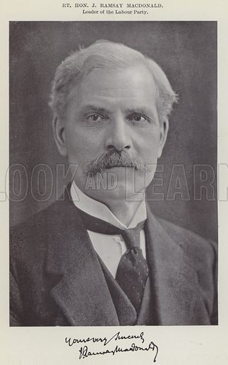 Right Honourable J Ramsay MacDonald, Leader of the Labour Party. Illustration for The Book of The Labour Party edited by Herbert Tracey (Caxton, c 1925).